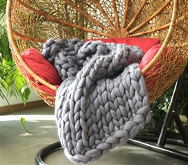 Pure Australian Woolen Blanket - Chunky Knit Throw Sized (Alloy)