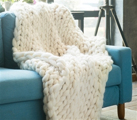 Pure Australian Woolen Blanket - Chunky Knit Throw Sized (Natural)