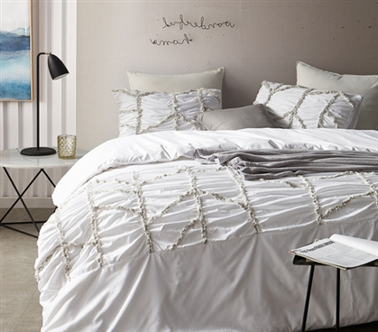 Alexandra Textured Duvet Cover - Twin XL - White
