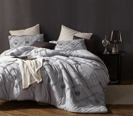 Stylish College Bedding Decor Unique Glacier Gray Twin XL Comforter with One-of-a-Kind Ruffled Chevron Textured Design