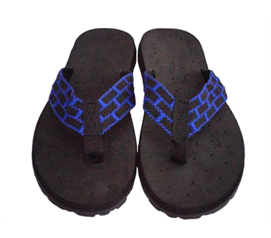 Stay Safe & Germ Free While Showering - Cushion-Relax Shower Sandals - Black/Blue Reggae