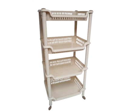 4-Shelf College Dorm Room Storage Rolling Unit