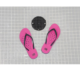 Showaflops - Women's Antimicrobial Shower Sandal - Hot Pink/Black - Needed For College
