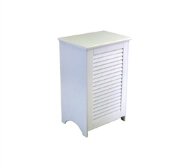 College Supplies Dorm Laundry Hamper White Louvered Hamper
