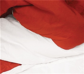 White/Cherry Red Reversible College Comforter Twin Extra Long Dorm Bedding