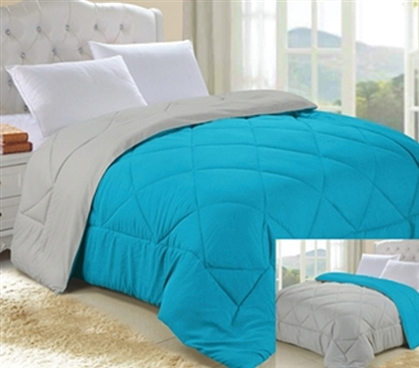 Aqua/Stone Gray Reversible College Comforter - Twin XL