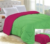 Lime Green/Knockout Pink Reversible College Comforter - Twin XL