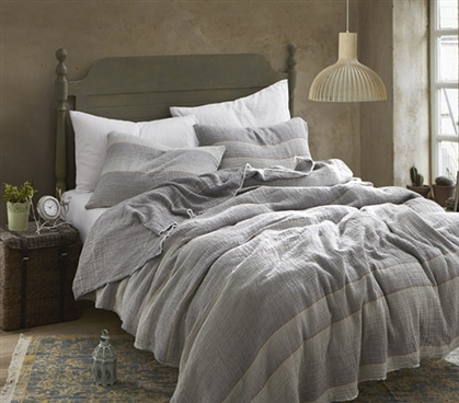 Rustica Portugal - Soft Denim Stone Washed Twin XL Quilt - Gray