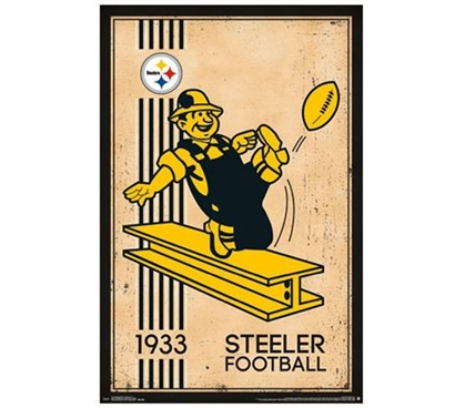 Wall Items For Dorms - Pittsburgh Steelers - Retro Logo (1933) Poster - Decor For College