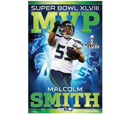 Malcolm Smith - Super Bowl XLVIII Poster - Wall Decor For Dorms