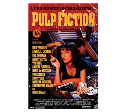 Pulp Fiction - Movie Score College Dorm Poster movie themed college dorm room decor for easy decorating