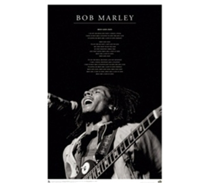 Bob Marley Black & White Stage College Dorm Poster cool Bob Marley on stage in black white photo dorm room poster
