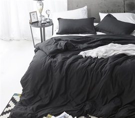 Black Supersoft College Bedding - Twin XL Duvet Cover