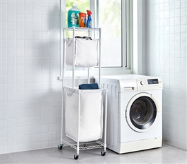 Suprima Laundry Station - White Frame with White Clothes Bags