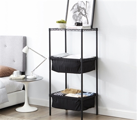 Essential College Storage Suprima Mini Shelf Supreme Useful Bin Style Black Frame with Black Fabric