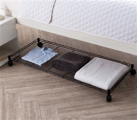 One of a Kind Suprima Underbed Rolling College Black Storage Shelf Essential Dorm Room Supplies