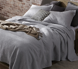 Tundra Gray Twin XL Bedding Softest Stone Washed Dorm Room College Quilt