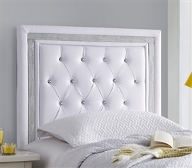 White with Silver Crystal Border College Dorm Headboard Tavira Allure Decorative Twin XL Bedding