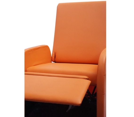 The College Recliner Folds Compact Orange Dorm Chair