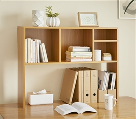 The College Cube - Dorm Desk Bookshelf - Beech (Natural Wood) Dorm Shelving Dorm Essentials College Supplies