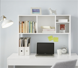 The College Cube - Dorm Desk Bookshelf - White Dorm Essentials Dorm Storage Solutions