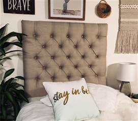 Neutral Twin XL Bedding Decor Comfortable Tufted College Headboard Stylish Linen Latte