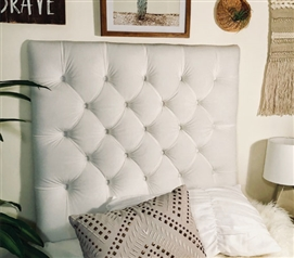 Plush White Tufted College Headboard