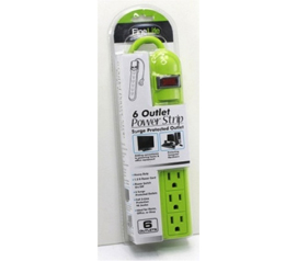 Dorm Necessities - 6-Outlet Surge Protected Power Strip - Lime Green - Products For College Students