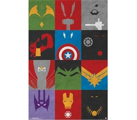 Wall Decor For Dorms - Avengers - Minimalist Grid Poster - Buy Posters