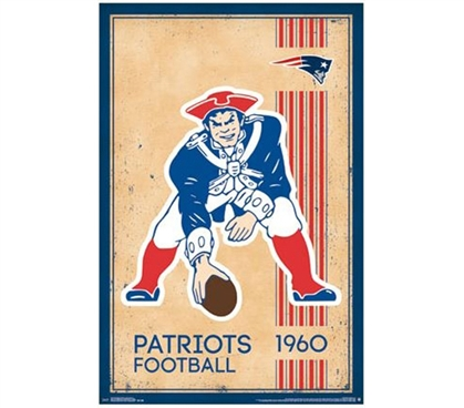 Retro New England (Boston) Patriots 1960 Logo Poster - Dorm Posters For College