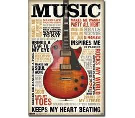 Artistic Music Poster - Music Inspires Me Poster - Essential Dorm Decorations