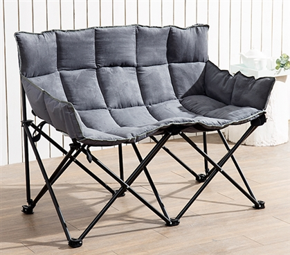 Essential Dorm Room Seating Unique Two-Seater Comfy College Sofa Stylish Alloy Gray Dorm Furniture