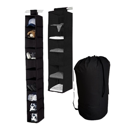 TUSK 3-Piece College Closet Set - Black (Hanging Shoe Version) Dorm Essentials Dorm Necessities