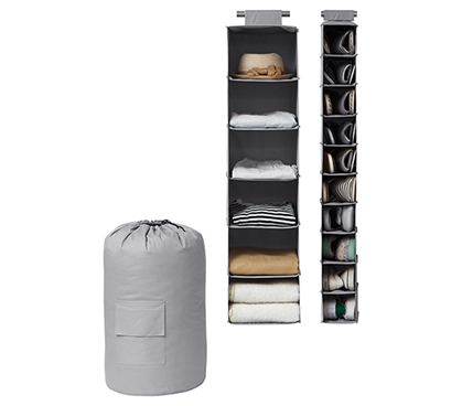 TUSK 3-Piece College Closet Set - Gray (Hanging Shoe Version) Dorm Essentials Dorm Storage Solutions