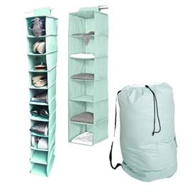 TUSK 3-Piece College Closet Set - Calm Mint (Hanging Shoe Version) Dorm Storage Solutions Must Have Dorm Items Dorm Necessities