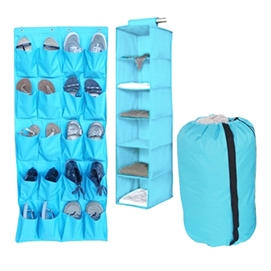 TUSK 3-Piece College Closet Pack - Aqua (Over Door Shoe Version) Dorm Essentials Dorm Storage Solutions