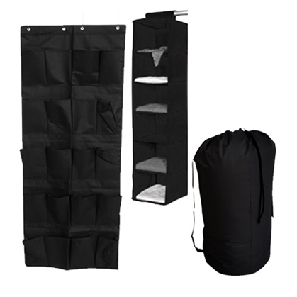 TUSK 3-Piece College Closet Pack - Black (Over Door Shoe Version) Dorm Essentials Dorm Organization