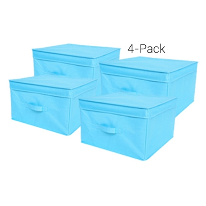 TUSK Jumbo Storage Box 4-Pack - Aqua Dorm Essentials College Supplies