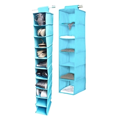 TUSK 2-Piece College Closet Set - Aqua Dorm Essentials Dorm Storage Solutions Must Have Dorm Items