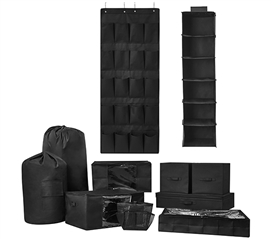 10PC Complete Dorm Organization Set - TUSK Storage - Black Dorm Storage Solutions Dorm Essentials