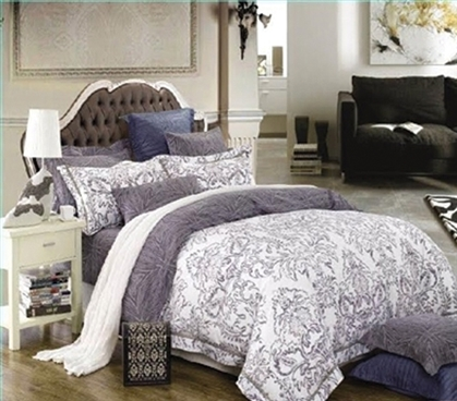 Patterned Extra Long Twin Comforter Set - College Ave Designer Series Girls Dorm Bedding