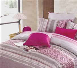 Shantal Pink and Gray TXL Comforter for Dorms