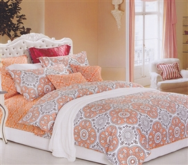 TXL Comforter Extra Long Dorm Bedding for Girls Mandala Peach Twin XL Comforter Set
