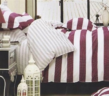Dorm Bedding for Girls Twin Extra Long Comforter Intrinsic Stripe TXL Comforter Set