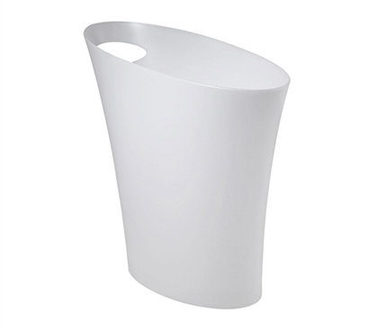 Skinny Trash Can - Metallic White