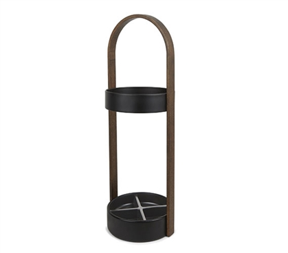 Umbrella Stand - Walnut and Black