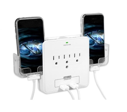 USB Outlet Multiplier with 2 Pull-Out Phone Cradles College Supplies