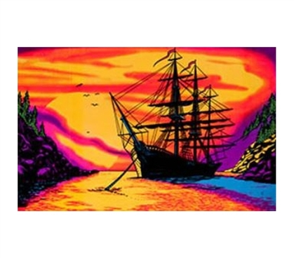 Shopping For College - Sunset Bay Blacklight Poster - Fun Dorm Stuff