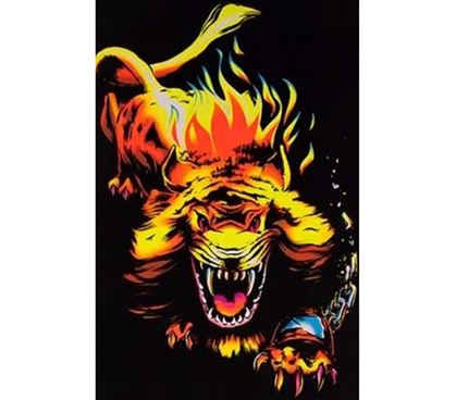 College Posters - Lion Flame Blacklight Poster - Decor For Dorms
