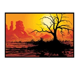 College Wall Decor - Desert Tree Blacklight Poster - Cheap Dorm Stuff
